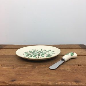 Lenox Holly Cheese Plate & Knife. NWT